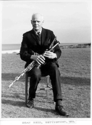 Sean Reid in Bettystown, 1969, playing the Leo Rowsome set made for him (and now played by Liam O'Flynn)